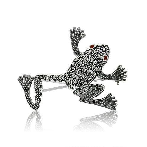 Silver Marcasite and Garnet Frog Brooch