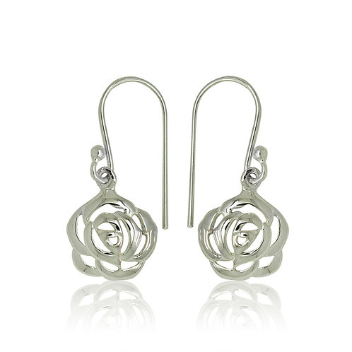 Sterling Silver Rose Design Drop Earrings