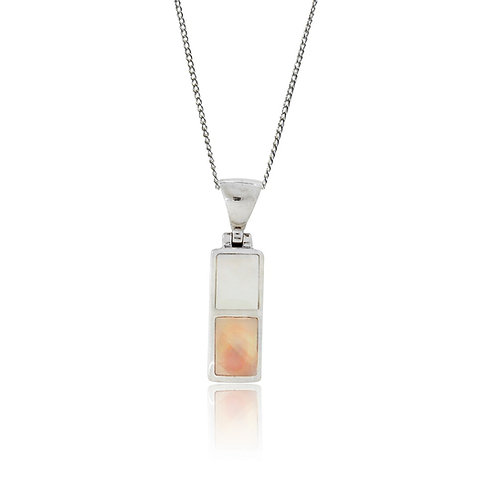 Sterling Silver Pink & White Mother of Pearl Pendant