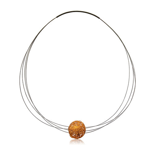 Handmade Designer Steel Wire with Gold plated Copper Sphere Collar