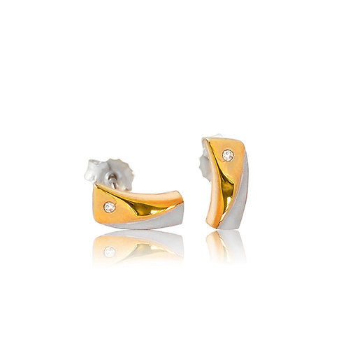Sterling Silver Gold Plated with Diamond Stud Earring