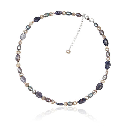 Boho Sterling Silver, Iolite and multi shade FW Pearl Necklace