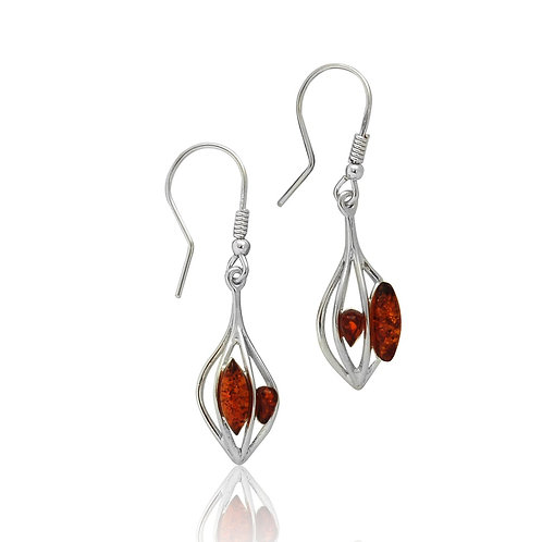 Sterling Silver Amber Chips in Silver Cage Drop Earring