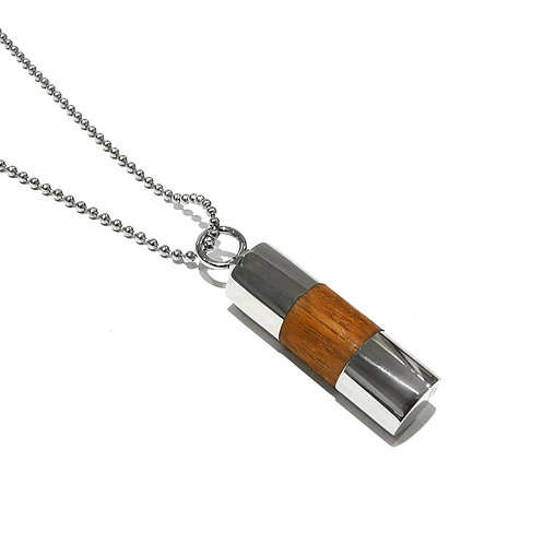 Stainless Steel and Sandalwood Pendant
