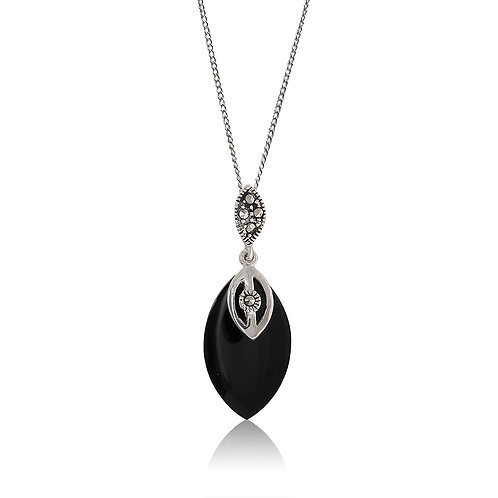 Silver Marcasite and Black Agate Marquise Pendant
