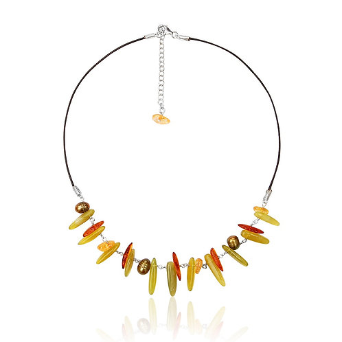 Boho Silver, Amber, Citrine, Fwp and Serpentine Necklace