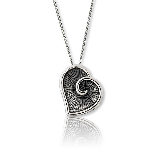 Sterling Silver Oxidised Heart Pendant