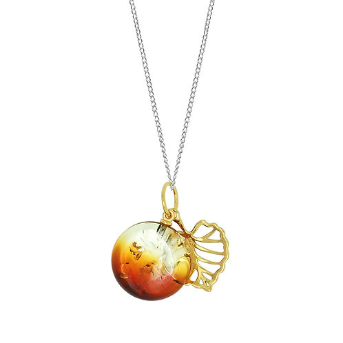 Sterling Silver Sunset Amber Round Stone with Gp Leaf Pendant