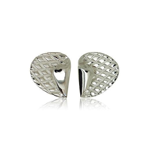 Sterling Silver Crossed Stud Earring