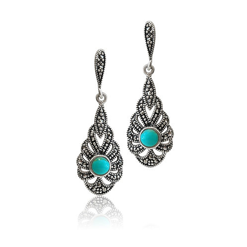 Silver Marcasite and Turquoise drop Earring