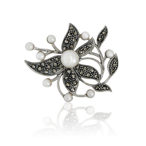 Silver Marcasite and Fresh Water Pearls Brooch