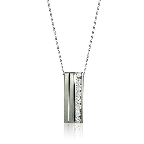 Sterling Silver Rectangular Pendant with CZ