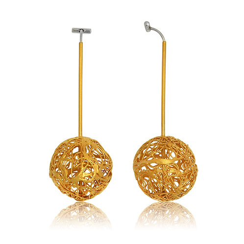 Handmade Designer Steel Wire with Gold plated Copper Earrings