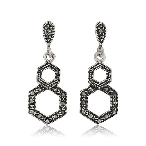 Silver Marcasite drop Earrings