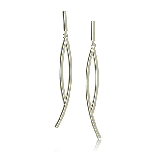 Handmade Designer Sterling Silver Brushed Drop Earrings