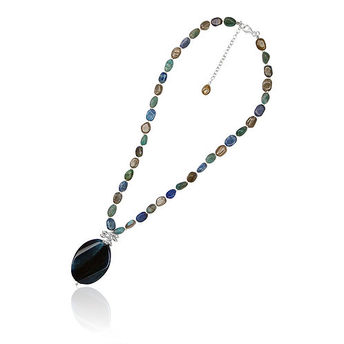Boho Silver, Apatite, Labradorite, Lapis and Agate Necklace