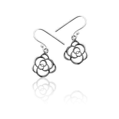 Sterling Silver Open Rose Drop Earrings