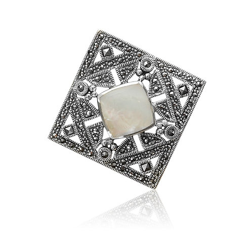 Silver Marcasite and Mother of Pearl Brooch