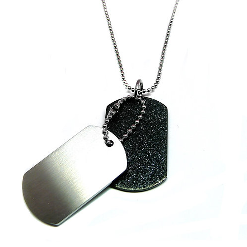 Stainless Steel Double Dog Tag Rough and Matt Finish Pendant
