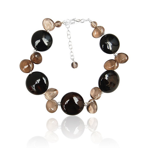 Boho Sterling Silver, Black Agate and Smoky Quartz Bracelet