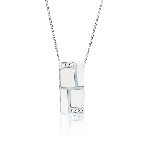 Sterling Silver Mosaic Mother of Pearl with CZ Pendant