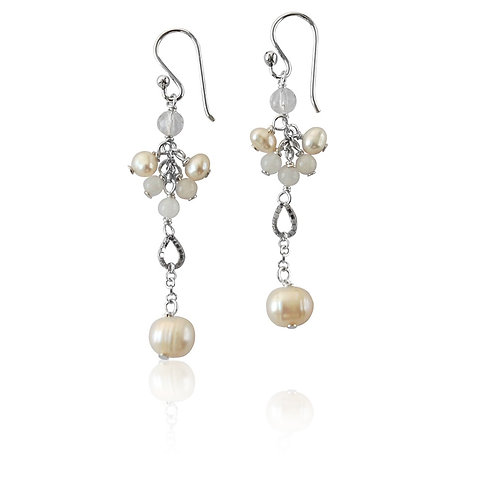 Sterling Silver with Fresh Water Pearl Cluster Drop Earrings
