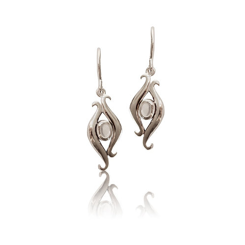 Sterling Silver with Moonstone Drop Earring