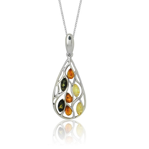 Sterling Silver Multicoloured Amber in a Teardrop Pendant