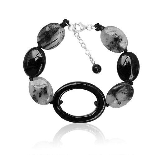 Boho Sterling Silver, Agate, Crystal and Quartz Bracelet