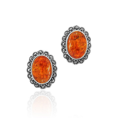 Sterling Silver with Marcasite Amber Oval Stud Earrings
