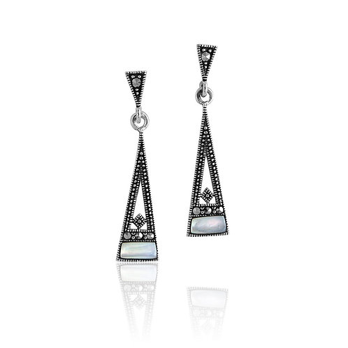 Silver Marcasite and Mother of Pearl drop Earrings