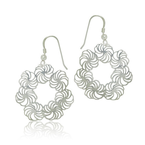 Sterling Silver Modern Design Drop Earrings