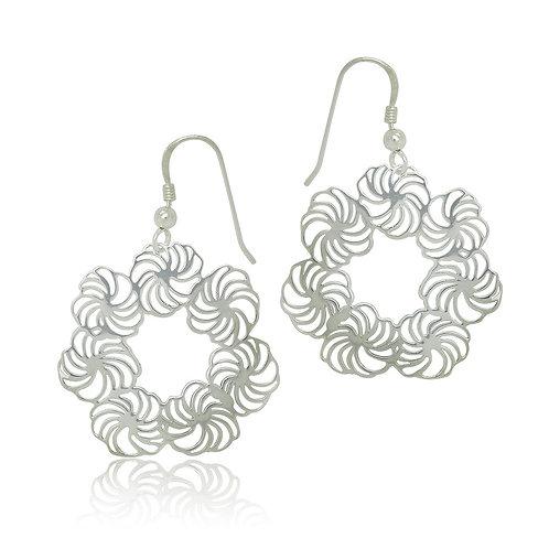 Sterling Silver Modern Design Drop Earrings