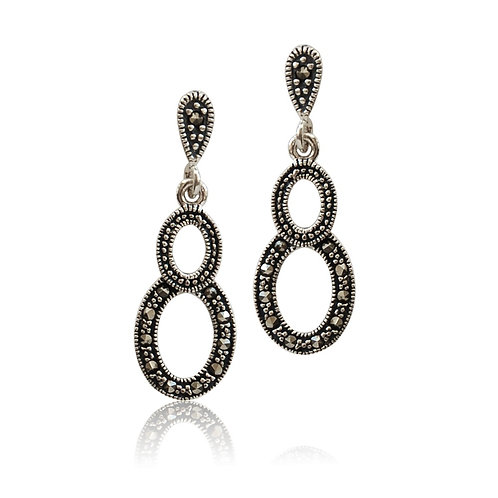 Silver Marcasite oval drop Earrings