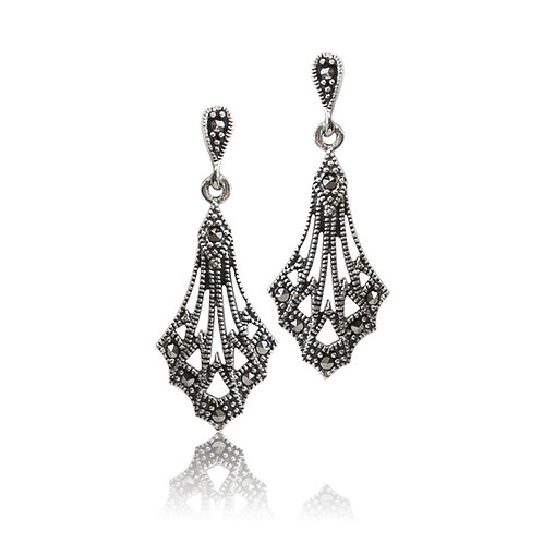 silver Marcasite Fan drop Earrings