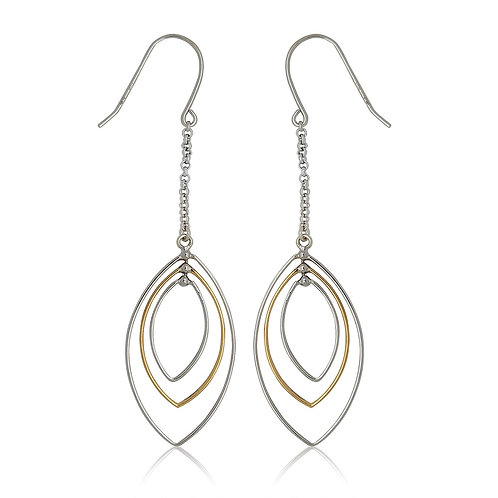 Sterling Silver Goldplated Triple Marquise Drop Earrings