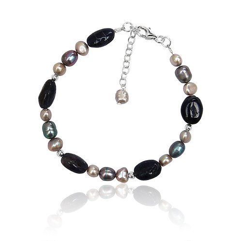 Boho Sterling Silver, Iolite and multi shade FW Pearl Bracelet