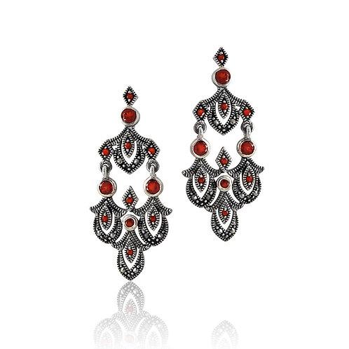 Silver Marcasite and Garnet drop Earrings