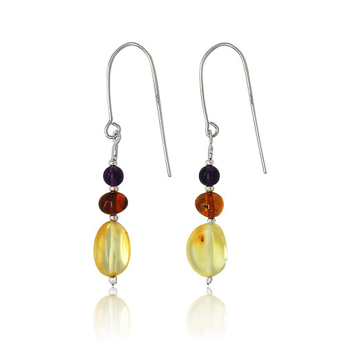 Sterling Silver Amber and Amethyst Bead Drop Earring