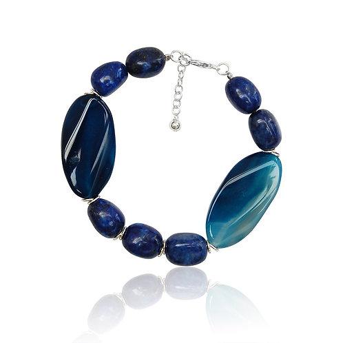 Boho Sterling Silver, Blue Sardonyx and Aventurine Bracelet