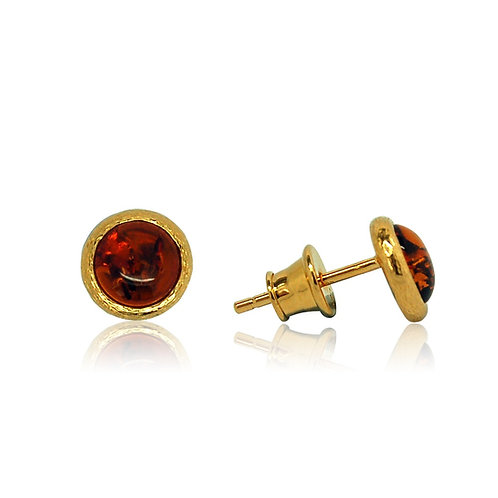 Sterling Silver Goldplated Amber Round Stud Earring