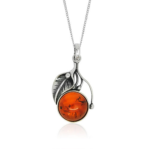 Sterling Silver with Round Amber Stone in Leaf Pendant