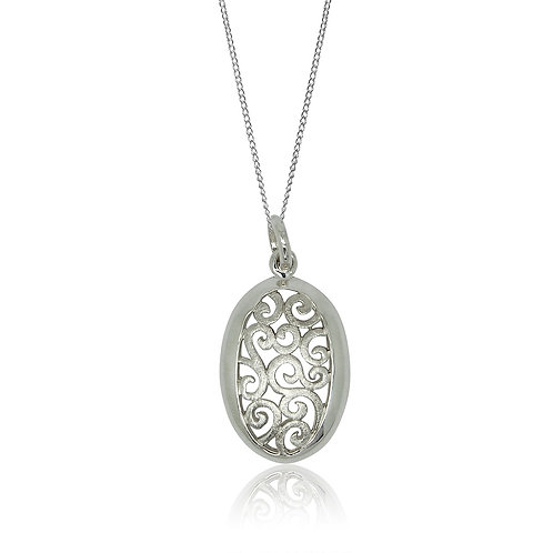 Sterling Silver Ajour Oval Pendant
