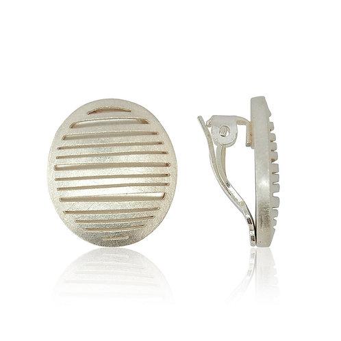 Handmade Designer Sterling Silver Brushed Clip Earrings