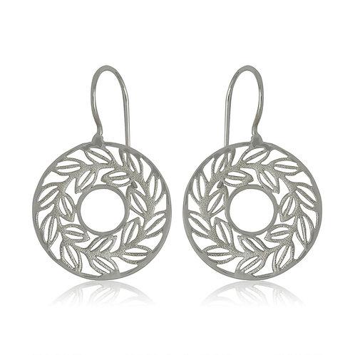 Sterling Silver Round Leaf Drop Earrings