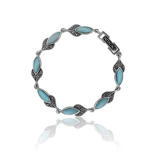 Silver Marcasite and Blue Mother Of Pearl Bracelet