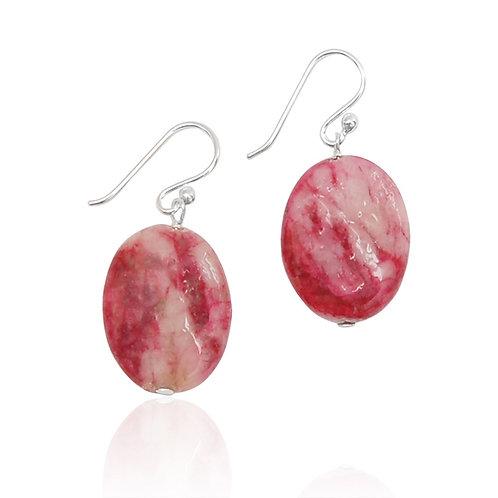 Boho Sterling Silver, Pink Serpentine Earring