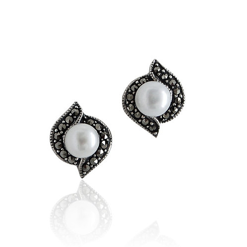 Silver Marcasite and Fresh Water Pearls stud Earrings