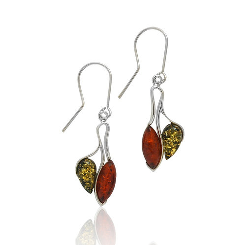 Sterling Silver Green and Cognac Amber Drop Earrings