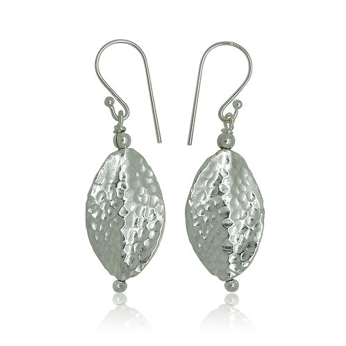 Sterling Silver Hammered Drop Earring